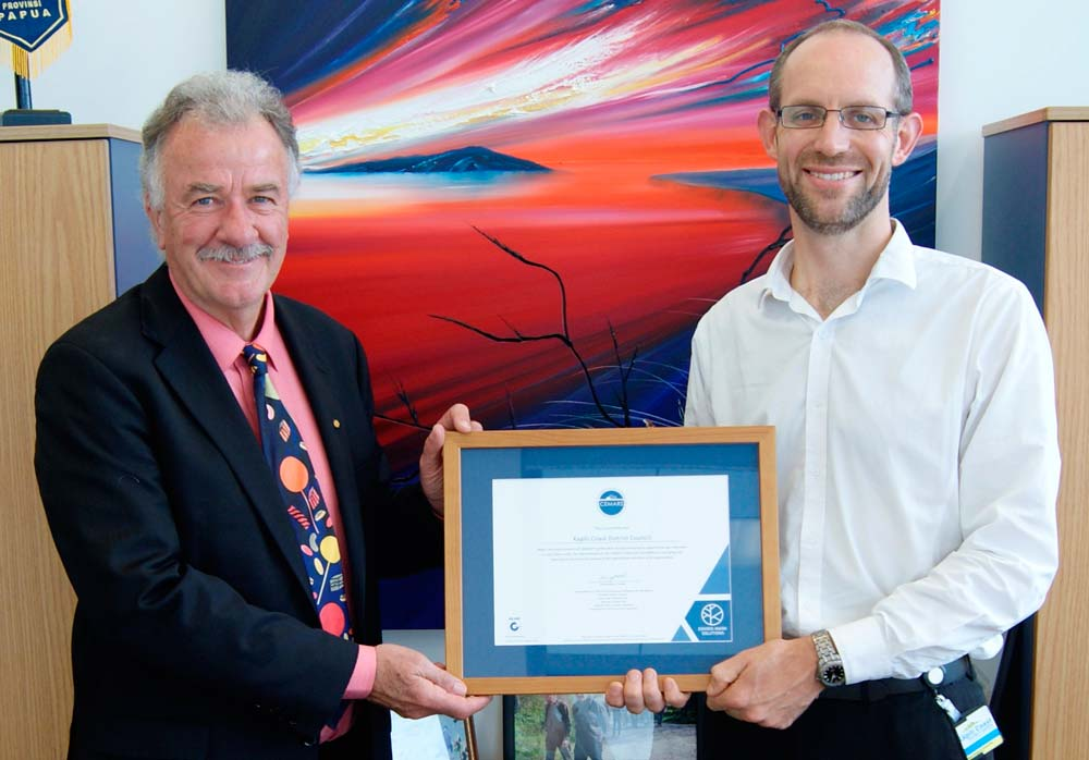 Kapiti Coast District Council CEMARS certification - Jake Roos with Mayor Ross Church